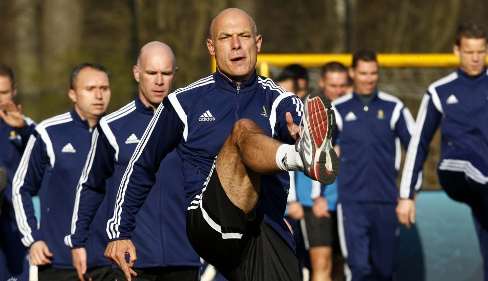 England's referee Webb takes part at a training camp for referees for the 2014 FIFA World Cup Brazil in Zurich